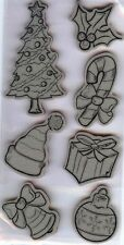 Rubber Cling Stamps CHRISTMAS FUN  CHRISTMAS TREE Candy Cane GIFT HOLLY BELL