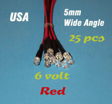 25 PRE WIRED RED LED WIDE ANGLE LIGHTS 5mm 6 VOLT 6V