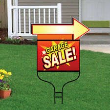 Garage Sale Package of 5 Deluxe Yard Signs W/ Arrow and 5 Steel Round Rod Frames