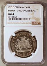 Best on eBay! 1865B Germany State Bremen Thaler Taler NGC MS64 Shooting Festival