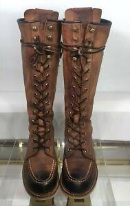 FRYE Dakota Wedge Lace Up Tall Boots Brown Rugged Leather Women's US 7 EU 37