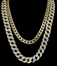 """Iced Out 2pc Set 24"""" 30"""" Cuban Link Chains 14k Gold Plated Hip Hop Necklaces"""