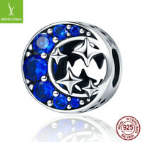 Authentic 925 Sterling Silver Star & Moon Legend Blue Clear CZ Bead fit Original