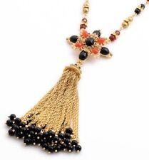 BLACK RED GRIPOIX CRYSTAL RHINESTONE Designer Maltese Cross Bead Tassel Necklace