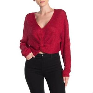 BCBGENERATION RED TWIST FRONT CROPPED SWEATER WOMEN'S SIZE M MSRP $88.00