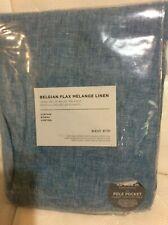 West Elm One (1) Belgian Flax Melange Linen Curtain 48x96 NIP! Teal Blue