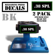 "38 SPL Reloading Press Decals Ammo Labels 1.95"" x .87"" Sticker 2 Pack BLK/GRN"