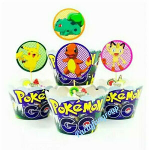 Pokemon Cupcake Toppers & Wrappers 12sets Pikachiu Party Cup Cake Decoration