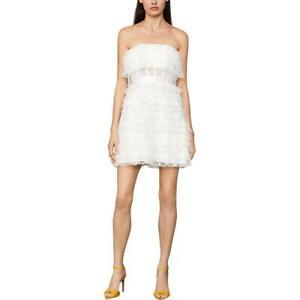 BCBG Max Azria Strapless Fringed Lace Corset Waist Mini Dress