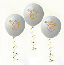 Hens Night Party Bride Tribe Balloons White with Gold Writing 10pack