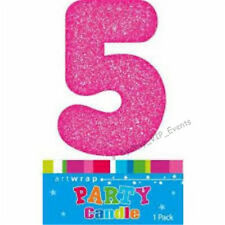 CAKE CANDLE NUMBER 5 GLITTER PINK 5TH BIRTHDAY PARTY GIRL FIVE 15TH 25TH TOPPER