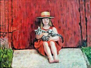 "M. JANE DOYLE SIGNED ORIGINAL ART OIL/CANVAS PAINTING ""JOSIE"" (PORTRAIT) FRAMED"