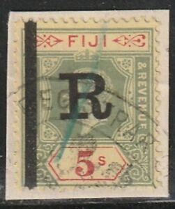 #90 Fiji 5 Shilling King Edward VII Die 1 Revenue Use On Piece