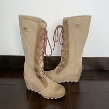 Sorel Cate the Great Kettle Tan Wedge Lace Knee High Tall Boots 8.5