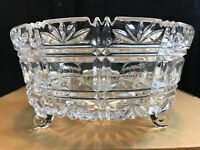 "vintage unmarked Crystal Glass 3 Footed Fruit Serving Bowl 9"" x 4.5"""