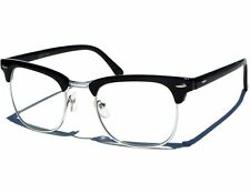 Small Clear Lens Classic Retro Vintage Black & Silver Clubmaster Glasses UV400