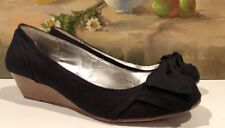 Women's Rampage Short Wedges, Size 8, Black, Closed Toe, Bow, Wood Wedge