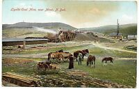 Old Color Photo Postcard Lignite Coal Mine near Minot North Dakota c 1908