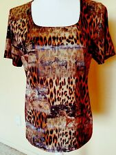WESTERN CONNECTION WOMENS LARGE BROWN ANIMAL PRINT SHORT SLEEVE KNIT TOP CASUAL