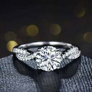 1.50 Ct Round Moissanite 14K Rose Gold Plated Twist Solitaire Engagement Ring