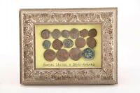 Antique Ancient Bronze Roman Coins Framed Spain Certificate Free Shipping M414