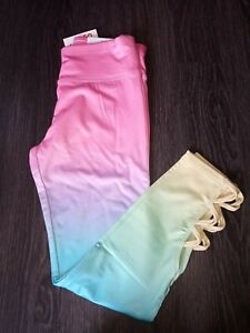 Girls justice strappy rainbow ombre legging size 8 new