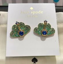 KATE SPADE 12K Gold Plated Full Plume Peacock Stud Earrings Green Blue NEW+Pouch