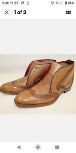 Mens JEFFREY WEST Brown Leather Lace Up Boots Size UK 8.