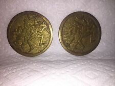 Pr. Heavy Brass Comical Coasters 2 Jolly Dancing Drinkers under a Crescent Moon