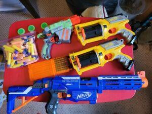 Lot of 4 Nerf Guns Vortex Maverick Retaliator Darts