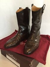 ARTIOLI Mens Ankle Dress Boots Mahogany Brown Ostrich Leather Pull On Italy 9.5