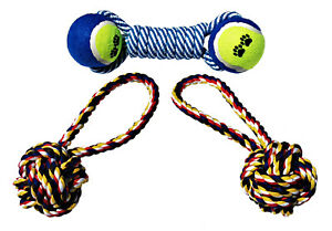 Cotton Chewy Rope Double Tennis Ball Dog Toy Aggressive Chew Medium Large Pups