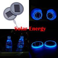2x Blue Solar LED Car Cup Bottle Holder Pad Mat For All Car Atmosphere Lights