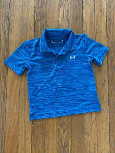 UA Under Armour Boys Sz 3T Polyester Polo Shirt Heather Blue EUC