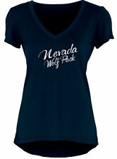 Nevada Wolfpack Shirt Womens SZ M/L Liquid Silver Foil Letters V-Neck USA Made