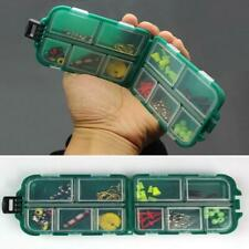 Portable 10Compartments Fishing Lure Spoon Hook Rig Bait Storage Case Tackle Box