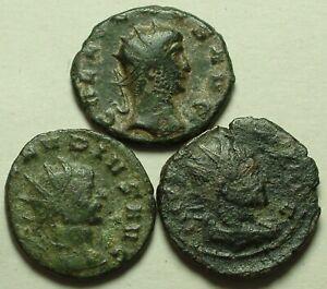 Lot 3 genuine Ancient Roman Antoninianus coins Gallienus/Claudius/Fides Aequitas