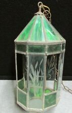 Antique ART DECO Mission green Stained SLAG Glass Hanging chandelier Panel Lamp