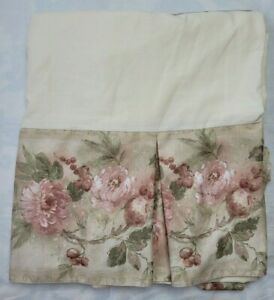 "Croscill Jacqueline Rose Queen Bed Skirt Pink Green Floral Fruit 13"" Drop Pleat"
