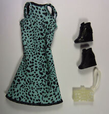 Barbie Deluxe Fashionista Gift Set Green Dalmatian Print Shoes Purse Doll Clothe