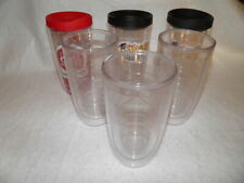 6 TERVIS TUMBLERS 16 oz Glasses /Cups ~ 3 Clear & 3 W/ Emblems/Decoration + LIDS