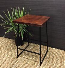 Lexington Side Table Metal & Timber Dark Mango Wood NEW