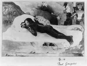 Manao Tupapau,IV,Nude Woman lying on Stomach,Bed,Spirits,1894,Paul Gauguin 3324
