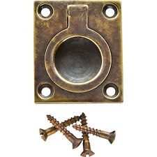1-1/4 inW x 1-1/2 inH Rectangular Recessed Ring Pull, Antique Brass