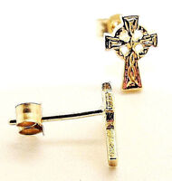 PAIR OF 9CT YELLOW HALLMARKED GOLD CELTIC CROSS 8MM X 6MM STUD EARRINGS