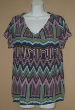 Womens Size XL Short Sleeve Summer Fashion Chevron Patterned Blouse Top Shirt