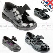 SALE GIRLS BOW SHOES BLACK SPANISH STYLE SHOES SHINY PATENT CHILD UK6 UK2 SCHOOL