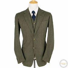 Davies & Son 3-Piece Bespoke Green Tan Wool H-Bone Windowpane Tweed Suit 42L