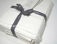 West Elm Creamy Off White Ivory Frayed Edge Organic Cotton Full Sheet Set New