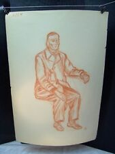 Man Sitting Portrait Sketch Original Red Pencil by C. Schattauer Kelm